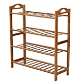 Nonsny 4 Tier Natural Bamboo Wooden Shoe Rack Storage Organizer, Black and White
