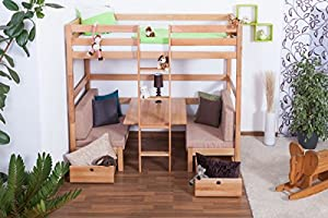 Children's bed / Bunk bed / Storage bed Tim (convertible into table with benches or 2 single beds) solid, natural beech wood, includes slatted frame - 90 x 200 cm