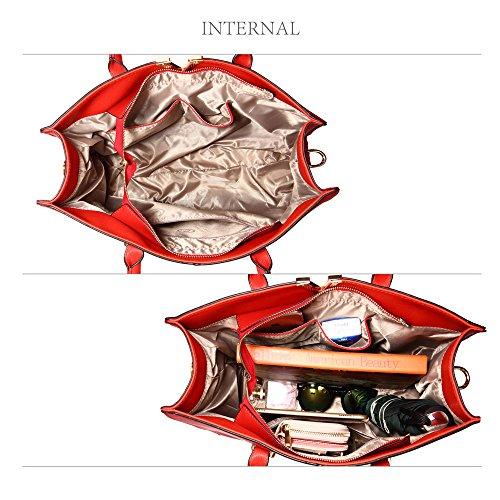 Superiore Sulla Metallo Da Della Metallo Logo Rosso Con Regolabile Donna Anteriore In Tracolla Parte In Lavorazione Removibile Borsa Fondo Con E V Manico Dorato Similpelle Bag Bloccato Sul Tote tSZ0S