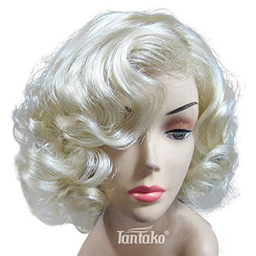 TANTAKO® Peluca Marilyn Monroe Rubio Claro Corta - Peluca Sintética Rubia Corta Para Mujer Cosplay...