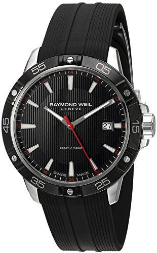 Raymond Weil Herren Analog Quarz Uhr mit Kautschuk Armband 8160-SR1-20001