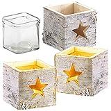 Britesta Weihnachtsleuchte: 3er-Set Windlichter, Holz, Stern-Motiv, herausnehmbares Teelicht-Glas (Dekowindlicht)
