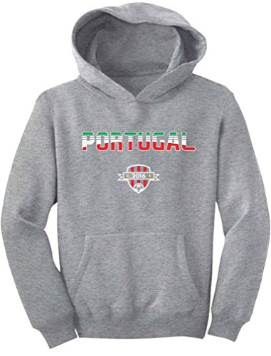PATEKUUU Portugal National Soccer Team 2016 Fans Youth Hoodie X-Large Gray