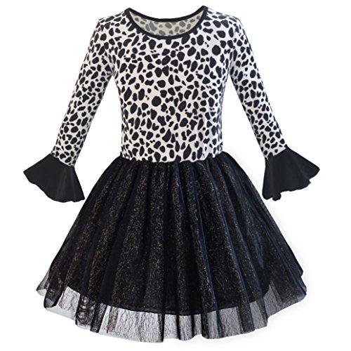 Mädchen Kleid Leopard Funkelnd Tüll Rock Herbst Winter Kleiden Gr. 104 (Mädchen-schwarz-samt-kleid)