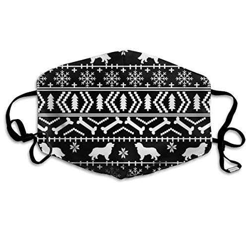 Bernese Mountain Dog Fair Isle Christmas Silhouette Black And White Anti Dust Mask Anti Pollution Washable Reusable Mouth Masks -