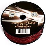 Cavo da 100 metri per cassa acustica nero e rosso, 20 AWG, 2 x 0,5 mm, per impianto stereo da automobile, Hi-Fi, suono surround