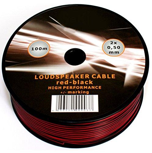 100m schwarzes rot Lautsprecher Kabel 20AWG 2x 0,5von mkshop® für Surround Sound HiFi Auto Audio System