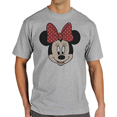 Mickey Mouse Disney Dope Icon Swag Colour Minnie Smyling Head Herren T-Shirt Grau