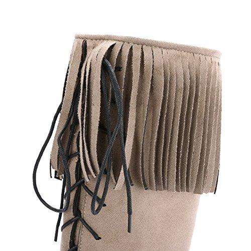 AllhqFashion Damen Mittler Absatz Mattglasbirne Hoch-Spitze Reißverschluss Stiefel Aprikosen Farbe