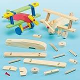 Holzflugzeug-Bastelsets - für Kinder zum Basteln und Bemalen - toll als Dekoration (2 Stück)
