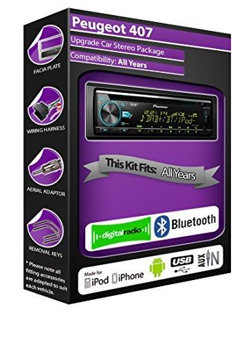 Peugeot 407DAB Radio, Pioneer estéreo de coche reproductor de CD USB, Bluetooth...