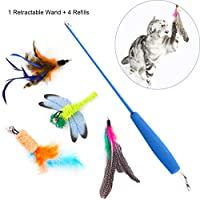 RCRuning-EU Juguetes con plumas, Gato juguete interactivo, Cat Interactive Feather Toy, Pet Toys Feather Wand Flexible, Kitten Teaser Toys, 1 Retractable Dangler Shaft Rod with 4 Feather Refills ( 5 Pack )