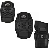 Xootz Childs 6 piece pad set in Black -protective skate bmx pads knee, elbow and wrist
