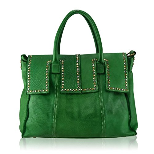 ZETA SHOES Borsa Donna in Vera Pelle Effetto Vintage Borchie 36 x H 27 x 18 MainApps Verde