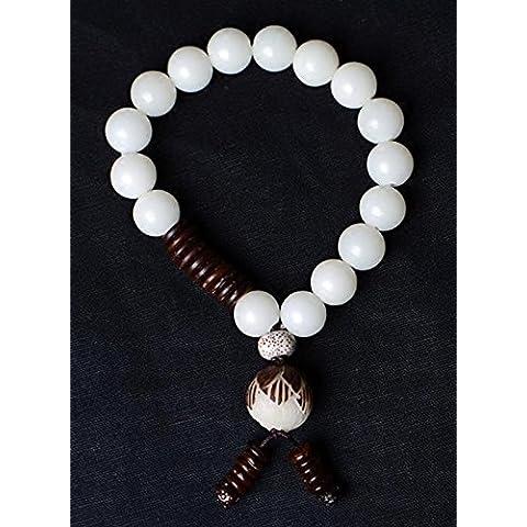 SUYA Bodhi hecha a mano, pulido a mano, blanco, con cáscara de coco, pulseras de grabado de lotus, retro estilo chino, regalo creativo , 14cm