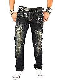 Kosmo Lupo K&M 261B Designer Jeans Homme Cargo Black Noir Style Clubwear Pantalon W29-W38 / L32-L34