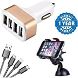 Captcha Universal Portable 4 Port USB Car Charger Adapter With Universal Car Mobile Phone Mirror Holder With Fiber 3 In 1 USB Charging Cable With 8 Pin Lightning, USB Type C, Micro USB Charging Cable(1 Year Warranty)