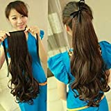 Pema Hair Extensions And Wigs Brown Ribbon Ponytail Tie Up Curly Hair Extension