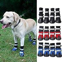 Nubstoer 4Pcs Pet Soft Dog Non Slip Boots Shoe Rain Snow Waterproof Dogs Shoes Cover Blue S