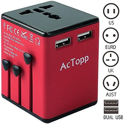AcTopp Adaptador de Viajes Universal Adaptador Internacional de Viaje Cargador Universal Enchufe Global con USB Puertos Dual 2.5A EU/US/UK/AUS/Asia Todo en Uno Compatible en Más de 150 Países para Viaje Comercio Color Rojo