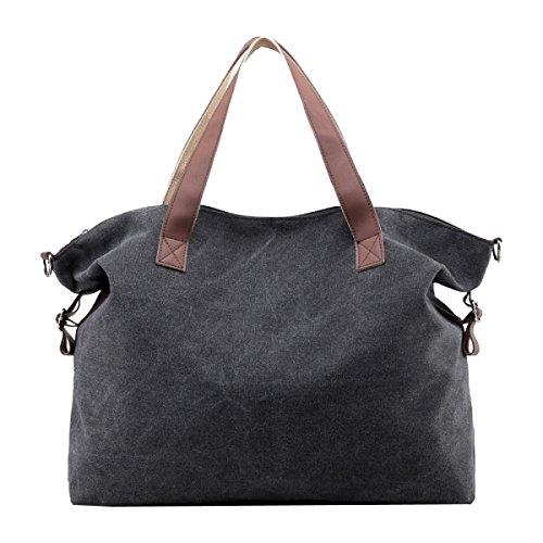 Preisvergleich Produktbild Leinwand All-Spiel Damen Einfach Retro Elegant Große Kapazität Handtasche Einzelne Schulterbeutel,Black-OneSize