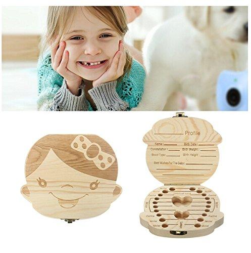 JZK Bebé dientes caja madera personalizado niños bebé dientes deciduous souvenir caja, caja almacenamiento dientes leche, caja dientes leche para niños bebé niña bautizo cumpleaños regalo