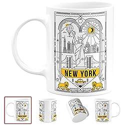 New York City Kaffeetasse 325 ml - elegante NYC Skyline Keramik-Kaffeetasse für New Yorker, Freiheitsstatue, Büro Geschenke