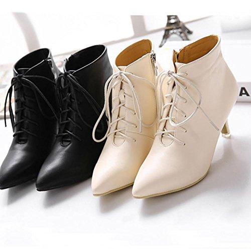 YMXJB Talons femmesBottes lacées, bottes femmes chaude mode minimaliste Black