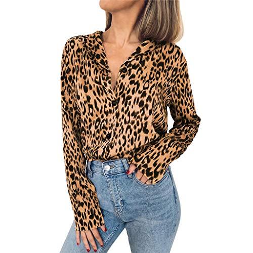 IMJONO Tops T Shirt Bluse Mode Frauen Langarm Leopard Print Button Umlegekragen Bluse Shirt(Small,Khaki)