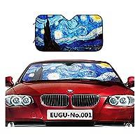 EUGU Car Windshield Sunshade,Van Gogh Starry Sky Heat Shield Sun Visor Keep Vehicle Cool,Thicken 5-Layer UV,Blocks 99% UV Radiation and Protects Interior