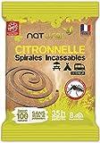 """NATURAL -Spirales Anti-Moustiques 100% fibres végétales naturelles, Incassable, Parfumées à la citronnelle - Innovation et Fabrication 100% Française - PRODUIT """"ÉLU DE L'ANNÉE"""" sur un panel de 10 000 personnes - Utilisation extérieure-"""