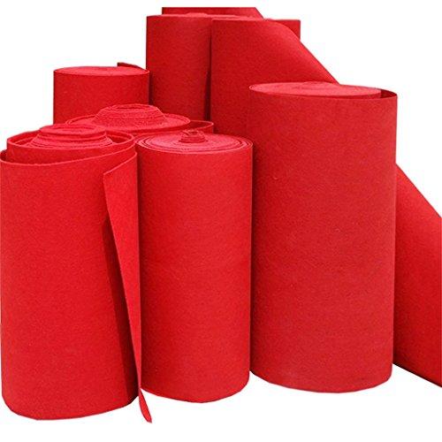 DT-Passatoia JIA JIA Home- Corredor de la Alfombra roja de la Boda, exhibición desechable de la exposición de la Etapa Espiga más Gruesa del cojín del pie Manta de la Escalera (Rojo, Grueso 2MM)