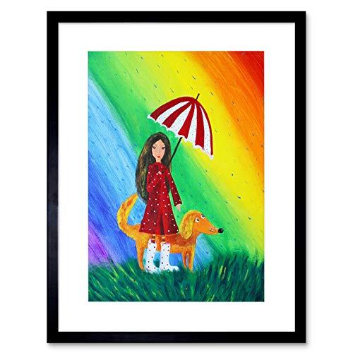 The Art Stop Drawing Girl Dog Rainbow Umbrella RAIN Colour RED Coat Framed Print B12X8477