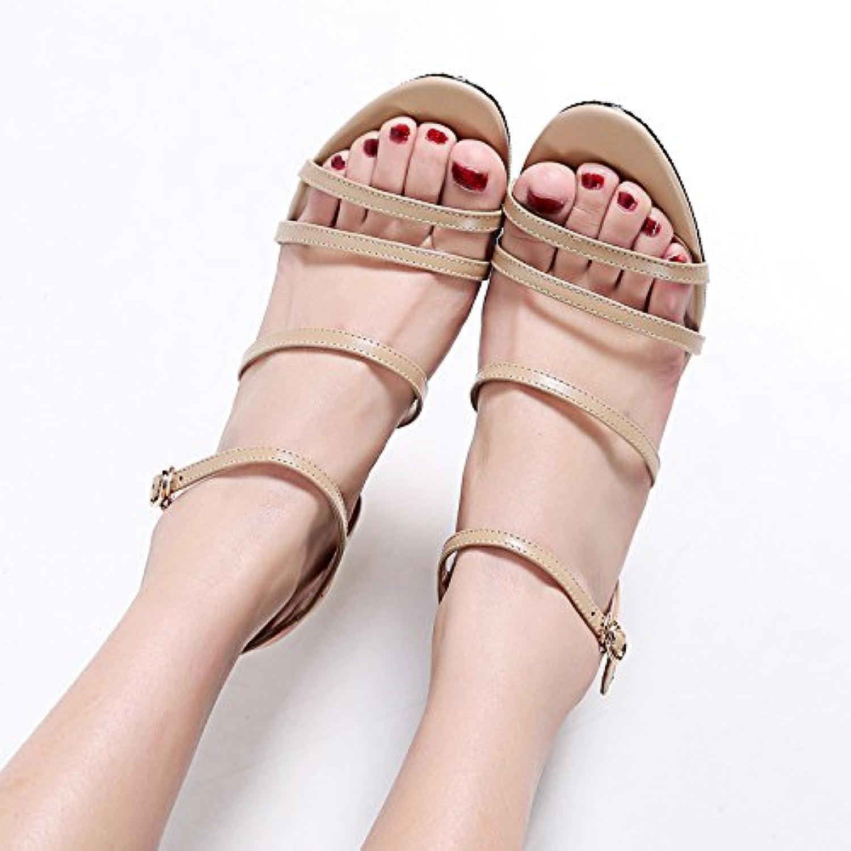 Sandalias De Los Tacones Altos De Cuero Genuino Con Extra,Apricot,Euu34Cn35