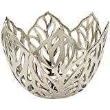 Three Hands 51843 Decorative Ceramic Leaf Bowl With Glossy Finish, Silver