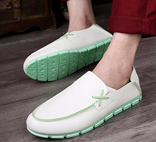 QIYUN.Z Mode Für Männer Pu-Leder Loafer Schuh Beleg Auf Beiläufige Weiche Flache Schuhe Rückenfrei Weiß