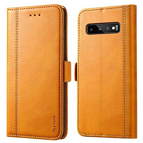 TesRank Funda Samsung Galaxy S10 Plus, Premium PU Piel Flip Wallet Carcasa [Ranuras para Tarjetas] [Pata de Cabra] Cierre Magnético Cuero Funda Movil para Samsung Galaxy S10 Plus-Caqui