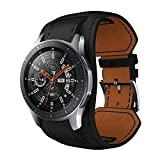 SongNifor Samsung Galaxy Watch 46mm Bracelets Soft Genuine Leather Cuff Strap Wrist...