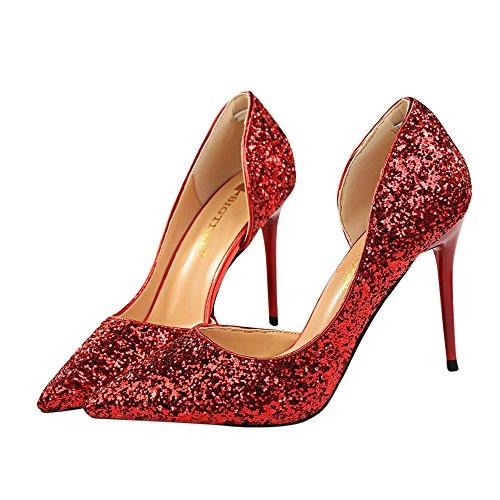 Beikoard-scarpa da Donna Estremamente Sexy Tacchi Alti Scarpe da Donna Scarpe con Tacchi Sottili Scarpe da Donna(Rosso,40)