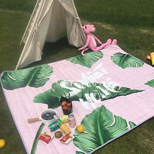 Lssing Verdicken Matten Frühling Reisematten Wilde Outdoor-Matten Rasen Camping Picknick Strand Tuch Falten tragbaren TeppichStiftung grüne Blätter140x200cm oder so