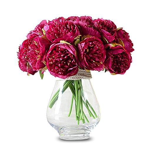 TININNA 5 Stück Wohnaccessoires & Deko Künstliche Kunstblumen Seide Pfingstrose Bouquet für Hochzeits -Blumenstrauß und Haus-Deko