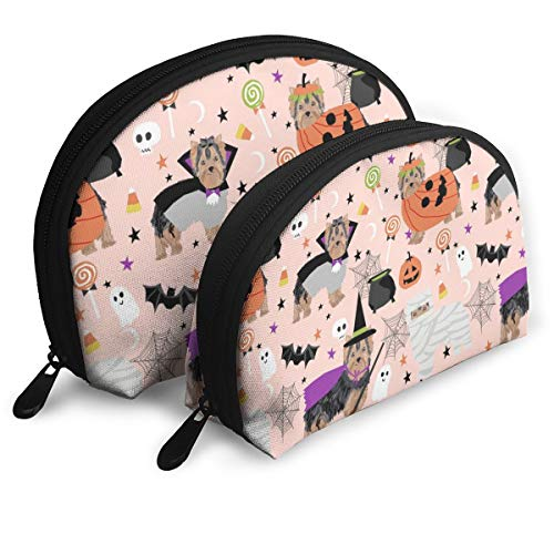Yorkshire Terrier Yorkie Halloween Costumes Cute Do Travel Cosmetic Storage Assorted Portable Bags Clutch Pouch Gift 2Pcs for Women