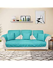 @home by Nilkamal Reversible Solid 3 Seater Sofa Cover with 3 Cushion Covers
