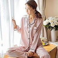 Delicacydex Mode-Koreanische Art-Nachahmung Seide-Frauen-Pyjamas stellten Weiche Nachtwäsche Glattes Langes Hülsen-Homewear Homie Nightwear Ein