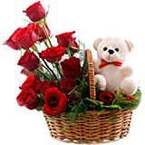 Florazone Celebrate Basket Arrangement of Red Roses With Small Teddy Same Day Delivery