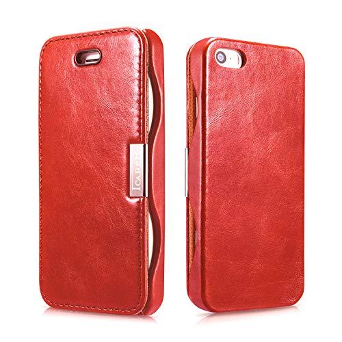 Luxus Tasche für Apple iPhone SE , iPhone 5S und iPhone 5 / Case Außenseite aus Echt-Leder / Innenseite aus Textil / Schutz-Hülle seitlich aufklappbar / ultra-slim Cover / Vintage Look / Farbe: Rot
