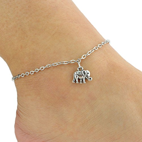 - 51rpO09S 2B9L - Lumanuby Silver Anklets Chain Women Lovely Elephant Pendant Bracelet Barefoot Sandal Girl Foot Jewelry Accessories Love Gift