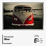 Kunstdruck Poster - Red VW Bus Bulli Roter Bulli Brendan Rey 61 x 91,50 cm mit Kunststoff-Bilderrahmen & Acrylglas reflexfrei, viele Farben zur Auswahl, hier Silber