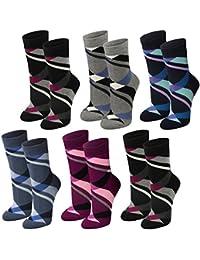 Lavazio® 6 Paar warme und kuschlige Damen Thermosocken mit Rauten in 6 Farben
