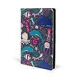 Couverture de livre en cuir avec dauphin et hippocampe, méduse, corail, pour l'école, le bureau, les cahiers de texte - Couverture rigide A5 14,7 x 22,1 cm - Pour filles et garçons
